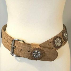 Silver Studded Vintage Tan Belt - 38 in.